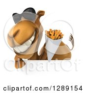 Clipart Of A 3d Camel Wearing Sunglasses And Holding French Fries Over A Sign Royalty Free Illustration