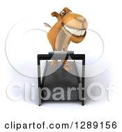 Clipart Of A 3d Camel Running On A Treadmill 3 Royalty Free Illustration
