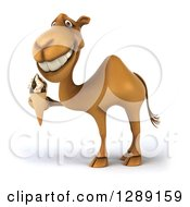 Clipart Of A 3d Camel Facing Left And Holding A Waffle Ice Cream Cone Royalty Free Illustration