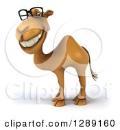 Clipart Of A 3d Bespectacled Camel Facing Left And Smiling Royalty Free Illustration