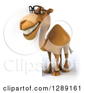 Clipart Of A 3d Bespectacled Camel Facing Slightly Left By A Sign Royalty Free Illustration