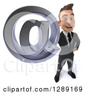 3d Young Brunette White Businessman Holding Up An Email Arobase At Symbol
