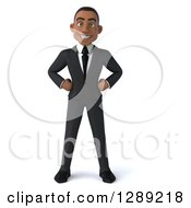 Clipart Of A 3d Young Black Businessman Standing With Hands On His Hips Royalty Free Illustration
