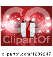 Holiday Clipart Of A 3d Anniversary Or Valentines Day Gift Box Over Red With Bokeh Flares And Hearts Royalty Free Illustration