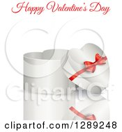 3d Heart Shaped Valentines Day Or Anniversary Gift Box With A Reflection And Red Text On White