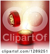 3d Round Valentines Day Or Anniversary Gift Box With Gold Magic Over Red