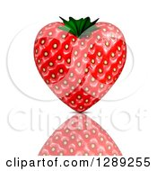 3d Strawberry Heart And Reflection On White