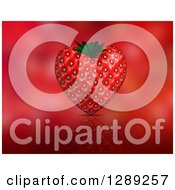 3d Strawberry Heart And Reflection On Blurred Red