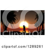 Clipart Of A Romantic Silhouetted Couple Kissing Between Palm Trees Against An Orange Ocean Sunset Royalty Free Illustration