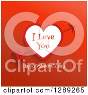 Happy Valentines Day I Love You Text With Cupids Arrow Through A Heart On Red