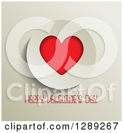 Happy Valentines Day Text Under A Red Heart In An Off White Circle