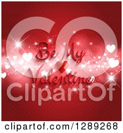 Be My Valentine Text Over Sparkly Bokeh Hearts On A Red Pattern