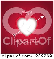 Happy Valentines Day Text Around A Heart With Cupids Arrow On Dark Pink