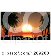 Clipart Of 3d Silhouetted Tropical Palm Trees And Hills Overlooking An Orange Ocean Sunset Royalty Free Illustration