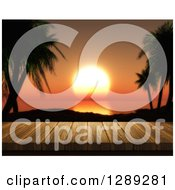 Clipart Of A 3d Close Up Of A Wooden Table Or Deck With A View Of An Orange Tropical Ocean Sunset Royalty Free Illustration
