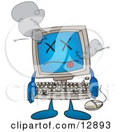Desktop Computer Mascot Cartoon Character Crashing