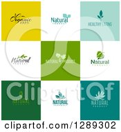 Clipart Of Flat Design Natural And Organic Business Logo Icons With Text On Colorful Tiles Royalty Free Vector Illustration