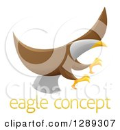 Clipart Of A Flying Bald Eagle With Extended Talons Over Sample Text Royalty Free Vector Illustration