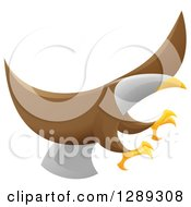 Clipart Of A Flying Bald Eagle With Extended Talons Royalty Free Vector Illustration by AtStockIllustration