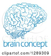 Blue Artificial Intelligence Circuit Board Brain Over Sample Text