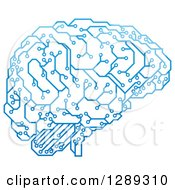 Clipart Of A Blue Artificial Intelligence Circuit Board Brain Royalty Free Vector Illustration