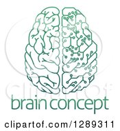 Gradient Green Half Human Half Artificial Intelligence Circuit Board Brain Over Sample Text