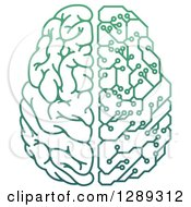Clipart Of A Gradient Green Half Human Half Artificial Intelligence Circuit Board Brain Royalty Free Vector Illustration