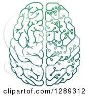Gradient Green Half Human Half Artificial Intelligence Circuit Board Brain