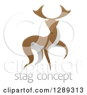 Clipart Of A Walking Stag Deer Buck Over Sample Text Royalty Free Vector Illustration by AtStockIllustration