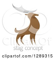 Clipart Of A Standing Stag Deer Buck Over Sample Text Royalty Free Vector Illustration