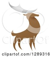 Clipart Of A Standing Stag Deer Buck Royalty Free Vector Illustration