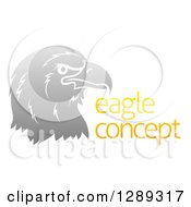 Clipart Of A Gradient Gray Eagle Or Falcon Head In Profile By Sample Text Royalty Free Vector Illustration