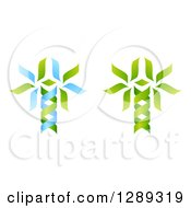 Clipart Of Green And Blue DNA Double Helix Trees Shaped Like Caduceuses Royalty Free Vector Illustration