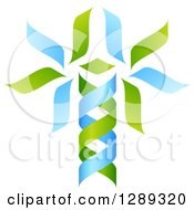 Green And Blue DNA Double Helix Tree Shaped Like A Caduceus