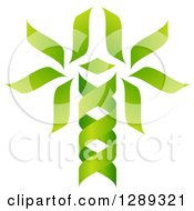 Green DNA Double Helix Tree Shaped Like A Caduceus