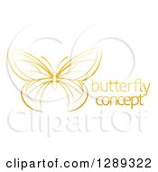 Clipart Of A Gradient Dark Yellow Butterfly With Sample Text Royalty Free Vector Illustration by AtStockIllustration