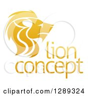 Clipart Of A Gradient Golden Male Lion Head In Profile Over Sample Text Royalty Free Vector Illustration