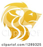 Clipart Of A Gradient Golden Male Lion Head In Profile Royalty Free Vector Illustration by AtStockIllustration