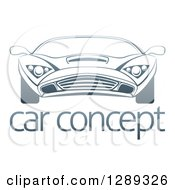 Clipart Of A Gradient Dark Blue Sports Car Over Sample Text Royalty Free Vector Illustration