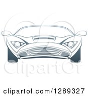 Clipart Of A Gradient Dark Blue Sports Car Royalty Free Vector Illustration by AtStockIllustration