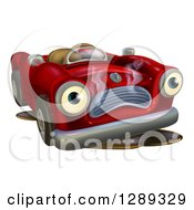 Clipart Of A Sad Broken Down Red Convertible Car Royalty Free Vector Illustration by AtStockIllustration