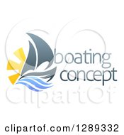 Clipart Of A Sailing Boat With The Sun And Ocean Waves By Sample Text Royalty Free Vector Illustration by AtStockIllustration