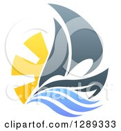 Clipart Of A Sailing Boat With The Sun And Ocean Waves Royalty Free Vector Illustration by AtStockIllustration