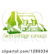 Clipart Of A Gradient Green Country Cottage House Over Sample Text Royalty Free Vector Illustration