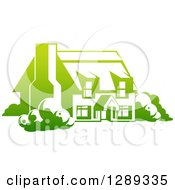 Clipart Of A Gradient Green Country Cottage House Royalty Free Vector Illustration by AtStockIllustration