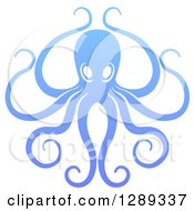 Clipart Of A Gradient Blue Octopus With Long Tentacles Royalty Free Vector Illustration by AtStockIllustration