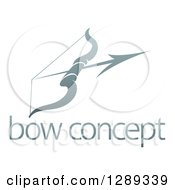 Clipart Of A Gradient Gray Archery Bow And Arrow Over Sample Text Royalty Free Vector Illustration by AtStockIllustration