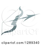Clipart Of A Gradient Gray Archery Bow And Arrow Royalty Free Vector Illustration