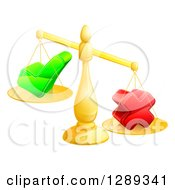 Clipart Of A 3d Unbalanced Gold Scales Weighing A Check Mark And X Cross Royalty Free Vector Illustration