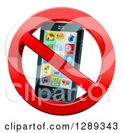 Clipart Of A 3d Black Touch Screen Smart Cell Phone In A Restricted Symbol Royalty Free Vector Illustration by AtStockIllustration